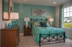 Teal teen girl's bedroom; The Ash Lawn floor plan, Drees Homes, Cleveland