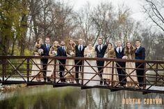 Indianapolis Wedding Photography // Bridal Party, Bridge, Snow