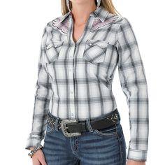 Rock 47 by Wrangler Women's Plaid Long Sleeve Western Shirt