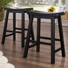 TRIBECCA HOME Salvador Saddle Back 24-inch Stool in Black Sand-Through (Set of 2) - Overstock™ Shopping - Great Deals on Tribecca Home Bar Stools