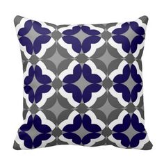 Abstract Floral Clover Pattern in Cobalt and Grey Pillows