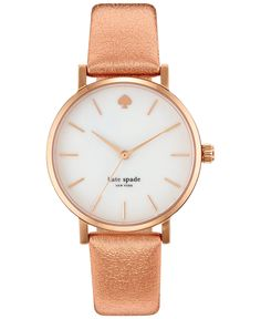 kate spade new york Women's Metro Rose Leather Strap Watch 34mm 1YRU0226 - Women's Watches - Jewelry & Watches - Macy's
