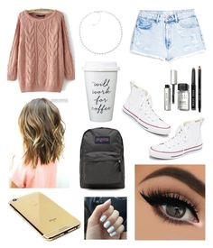 """School outfit"" by pattynavarro on Polyvore featuring Goldgenie, MANGO, Irene Neuwirth, Converse, Bobbi Brown Cosmetics, JanSport, women's clothing, women's fashion, women and female"