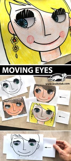 MOVING EYES (krokotak) MOVING EYES You are in the right place about Art Education videos Here we offer you the most beautiful pictures about the Art Education photography you are look Projects For Kids, Diy For Kids, Art Projects, Crafts For Kids, Fun Crafts, Paper Crafts, Arte Elemental, Classe D'art, Moving Eyes