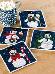 Discover thousands of images about Plastic Canvas - Coaster Patterns - Seasonal & Holiday Patterns - Snow Scenes Plastic Canvas Coasters, Plastic Canvas Ornaments, Plastic Canvas Tissue Boxes, Plastic Canvas Crafts, Plastic Canvas Patterns, Hama Beads, Plastic Canvas Christmas, Canvas Designs, Beading Patterns