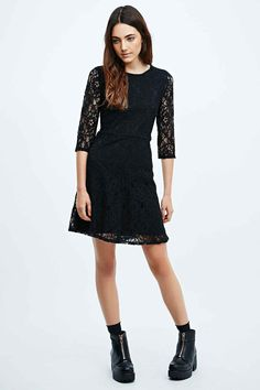 Pins & Needles Flippy Lace Dress in Black