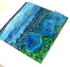 Blue organza flowers  handmade card  fibre art card by StitchMikki, $6.00