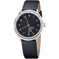 Mondaine Unisex Helvetica Leather Strap Watch , Black (26.915 RUB) ❤ liked on Polyvore featuring jewelry, watches, black, mondaine, polish jewelry, unisex watches, unisex jewelry and leather strap watches