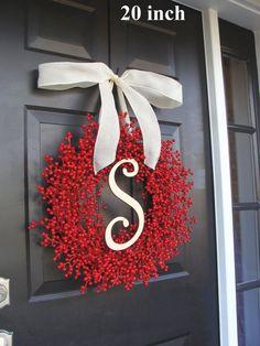 Christmas Decor- Holiday Decoration- Christmas Decoration- Holiday Decor- Monogram Berry Christmas Wreath on Etsy, $75.00