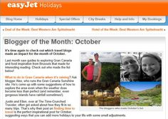 Pin number 100 on this board and a bit of a celebration. The Sunshine Guide to Gran Canaria is featured on EasyJet's Blogger of the Month column. :-D