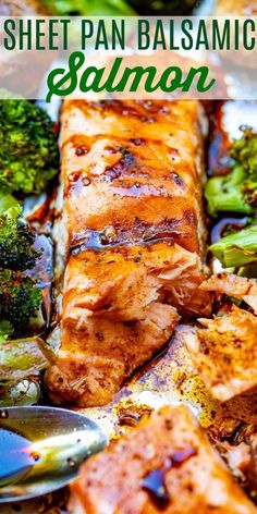 Sheet Pan Balsamic Salmon and Vegetables – An EASY recipe that has so much flavor from the balsamic glaze!! IMPRESS your family and friends with this restaurant-quality tasting baked salmon!! Sheet Pan Balsamic Salmon and Vegetables The salmon is flaky and moist, the broccoli remains perfectly crisp-tender, and the mushrooms are super juicy from the […] Healthy Salmon Recipes, Fish Recipes, Seafood Recipes, Healthy Foods, Best Salmon Recipe, Protein Recipes, Healthy Eating, Sheet Pan Dinners Salmon, Balsamic Salmon