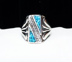 New Listings Daily - Follow Us for UpDates -  Sterling & Turquoise Chip Mens Ring  - #Southwestern Native American Indian #Jewelry - Diagonal Line  - Four Fingers Shank - Mid Century offered by #TheJewelSeeker on Etsy  De... #vintage #jewelry #teamlove #etsyretwt #ecochic #southwestern #thejewelseeker