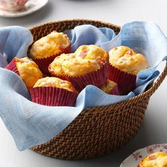Ham and Cheese Muffins Recipe -Serve these savory biscuitlike muffins for breakfast, at snack time or along with a hearty bowl of soup. —Doris Heath, Franklin, North Carolina