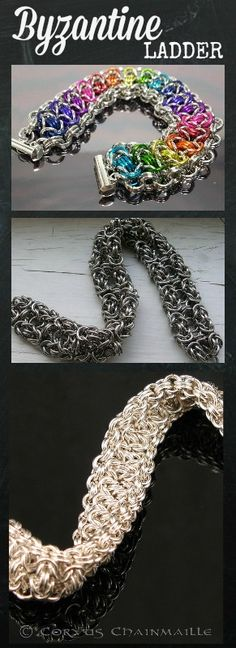 #BYZANTINE LADDER #chainmaille #bracelet  I want to learn this weave. Great examples by: Hannah Harighi (rainbow), Orrex and  Red crow at Corvus ...Thinking about using my Favorite #Jumprings........