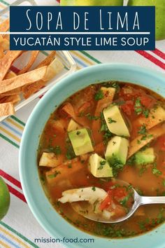 Sopa de Lima is a bright and citrusy Mexican chicken soup that will tantalize your taste buds. Whether you're coming down with a cold, or craving a light but comforting soup, this recipe is easy and delicious. Chicken And Dumplings, Chicken Soup, Chowder Recipes, Soup Recipes, Mexican Food Recipes, Ethnic Recipes, American Recipes, Mexican Chicken, Vegetarian Soup