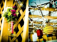 I think we will put up some lattice and hang mason jars with flowers in them from it! :)