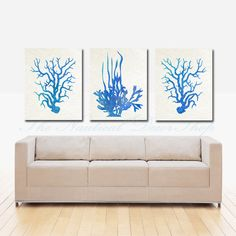Blue Coral Art Print Set of THREE Coral Wall Art, Coral Print, Nautical Decor, Blue Watercolor, Sea Kelp Print, Sealife print. via Etsy.