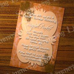 Bridal Baby Shower Orange Damask Modern by ShimmeringLionStudio, $12.00