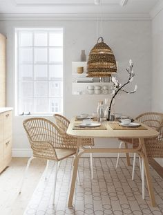 Ikea Dining Table, Dining Table Lighting, White Dining Table, Scandinavian Dining Table, Rattan Dining Chairs, Small Dining Tables, Small Dining Rooms, Kitchen Table Light, Small Dining Table Apartment