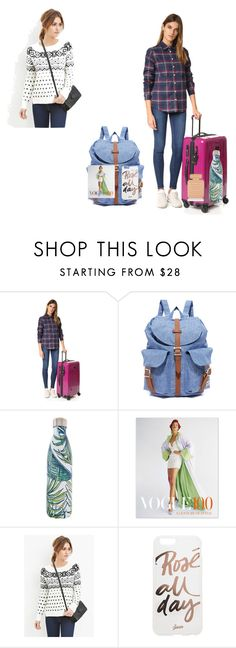 """""""Travel Essentials..!!"""" by yagna ❤ liked on Polyvore featuring Tumi, Herschel Supply Co., S'well, Ingram Publishing, Sonix and Charlotte Olympia"""