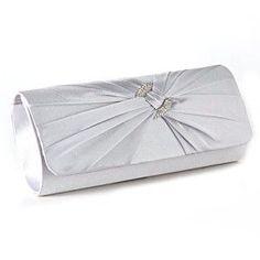 Anladia Satin Diamante Pleated Evening Clutch Bag Bridal Handbag Prom Purse (Silver)