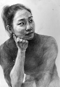 Person Drawing, Woman Drawing, Figure Sketching, Figure Drawing, Cool Drawings, Pencil Drawings, Academic Drawing, People Figures, Hyperrealism