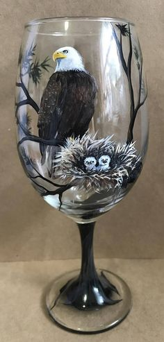 Bald Eagle Mother Babies Hand Painted Wine Glass Goblet