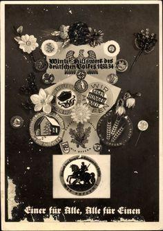 Postkarte Einer für Alle, Alle für Einen, WHW 1933 1934, Winterspende