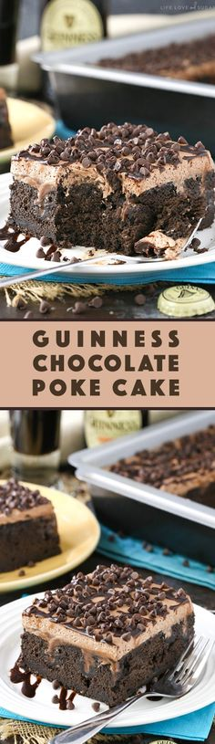 Guinness Chocolate Poke Cake - so moist and full of chocolate and Guinness flavor! Such a great dessert for St. - Michael's Birthday Poke Cakes, Poke Cake Recipes, Dessert Recipes, Poke Recipe, Irish Recipes, Sweet Recipes, Cupcakes, Cupcake Cakes, Great Desserts