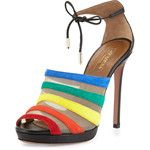 Aquazzura Graphic Striped Suede Sandal