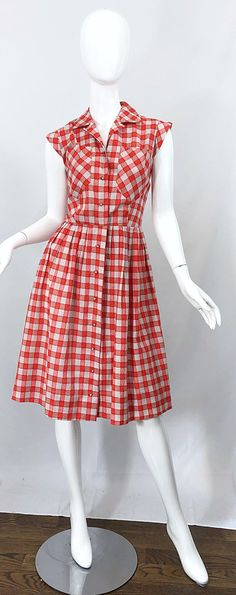 Rare Ann Taylor Red + White Checkered Rhinestone Vintage Cotton Dress For Sale at 50 Style Dresses, Flapper Style Dresses, 1950s Fashion Dresses, 1950s Outfits, Vintage 1950s Dresses, Day Dresses, Vintage Outfits, Vintage Fashion, 1940's Fashion