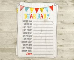 Baby Shower Game  Dear Baby  Printable Game  by CelebrateBabyCo