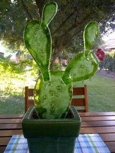 Cactus en vitrofusion...Obra de Marisa Herlein