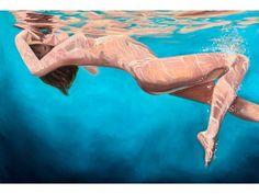 Woman Painting, Plus Size Art, Gothic Fantasy Art, Underwater Art, Positive Art, Girl In Water, Exotic Art, Female Art, Watercolor Art