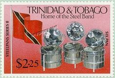 Trinidad and Tobago stamp with our Nationa Flag and our national instrument, invented in Trinidad and Tobago, the Steel Pan.