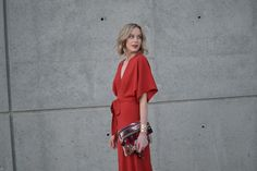 LuLu*s rust maxi dress, fringe clutch