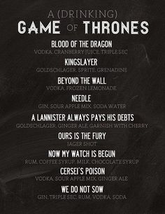 GoT drinking game! This is happening for the premier! #gameofthrones