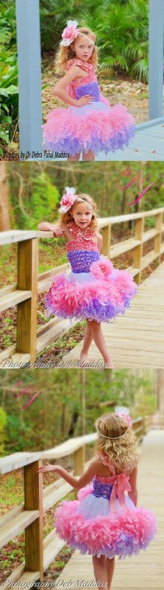Pretty In Pink Ballerina Girls Feather Dress I love feather dresses