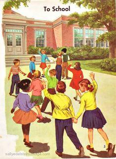 Vintage Childrens School Book Illustration 1960