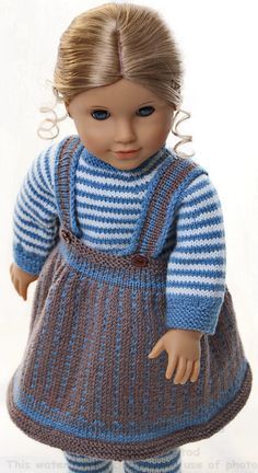 "knitting dolls instructions - ""everyday clothes"" for my doll - Stricken - Babycan Knitting Dolls Clothes, Ag Doll Clothes, Doll Clothes Patterns, Clothing Patterns, Baby Hat Knitting Patterns Free, Knitting For Kids, Crochet Doll Dress, Knitted Dolls, Costume Marin"