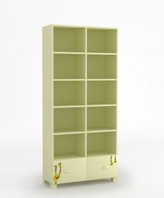 Regał 90 o wymiarach: 1960x900x339. dwie szuflady i półki zabezpieczone przed wypadnięciem, szuflady na prowadnicach BLUM z systemem BLUMMOTION (niezależnie od wielkości lub ciężaru szuflady oraz siły z jaką jest ona zamykana BLUMOTION działa adaptacyjnie i dba o delikatne i ciche zamykanie), krawędzie szuflad zaokrąglone, możliwość przyczepienia regału do ściany.
