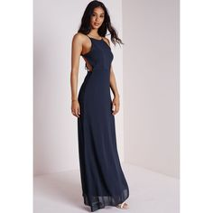 Missguided Strappy Back Maxi Dress ($17) ❤ liked on Polyvore featuring dresses, navy, chiffon maxi dress, navy blue dress, strappy dress, fancy dresses and dressy dresses