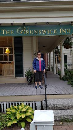 The lovely Brunswick Inn. I am wearing my LL Bean rain jacket (needed in ME), pink tee and black capri. Ultralight Backpacking, Packing Light, New England, Maine, Boston, Rain Jacket, Capri, Outdoor Decor, Black