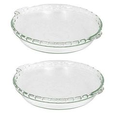 2 X Pyrex Bakeware 912Inch Scalloped Pie Plate Clear