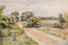 """""""Road with Barn near Sag Harbor,"""" George Bellows, 1899, watercolor, 9-7/8 x 15"""", Guild Hall Museum."""