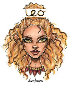 Leo illustration from my new Zodiac series. I'm creating 12 personal characters to suit each of the star signs based on their colours and horoscope reading. © Shannon Hansen 2016