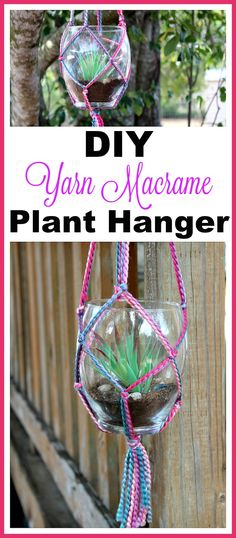 Yarn Macrame Plant Hanger- It's actually not difficult to make your own DIY yarn macrame plant hanger. The result is beautiful, and makes a great homemade gift! | DIY gift idea, macrame decor, plant pot holder, indoor gardening, garden, craft, macrame tutorial, macrame knots, colorful, bright, spring, summer, succulent pot holder, how to do macrame, how to make macrame