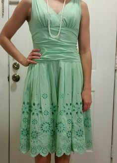 Mint green sundress Go mad men style with this mint green sundress. Crenoline to give shape is separated from your legs with a layer, so no itching! Ruched waist for figure flattering shape. Made of cotton and polyester. Pet free smoke free home. Dresses