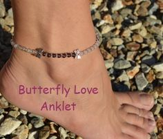 Butterfly Love Anklet Amethyst Rose Quartz Clear by CrystalMeB, $20.00