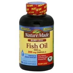 Nature Made Burp-less Fish Oil, 1000 Mg, 300 mg Omega-3, 150 Liquid Softgels by Nature Made. $13.50. Trust your health with Nature Made Fish Oil. The Omega-3's in Fish Oil may reduce coronary heart disease risk. They protect the heart by keeping cell membranes flexible and healthy.